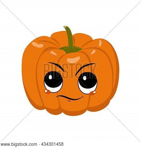 Cute Pumpkin Character With Emotions Of , Displeased Face. Festive Decoration For Halloween. Annoyed