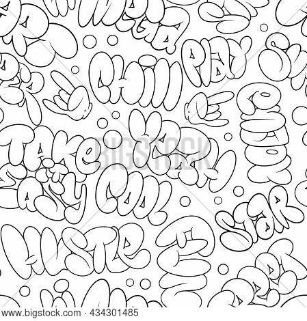 Vector Graffiti Bubble Tags, Seamless Pattern. T-shirt Design, Textile, Banner.