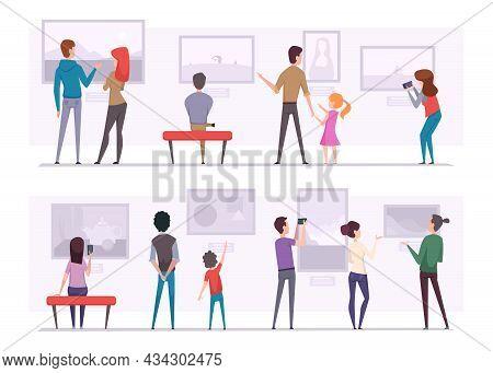 Exhibition People. Art Gallery Visitors Person Looking Museum Pictures Artful Exact Vector Illustrat