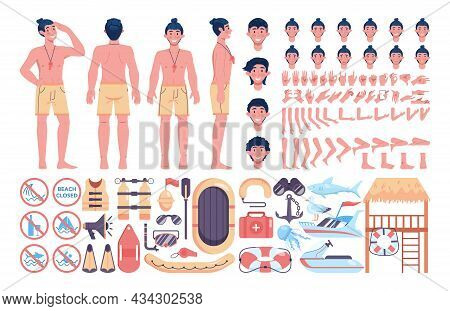 Beach Rescuer Constructor Set. Male Lifeguard Assisting First Aid To A Person