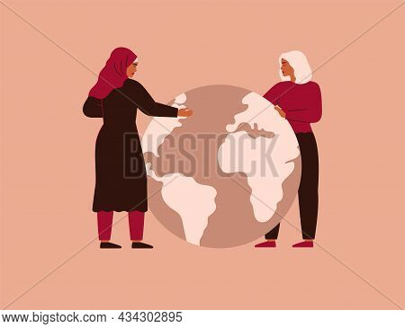 Two Women Hug Big Planet Earth With Love And Care. Arabian And Caucasian Girls Stand Near Globe. Con