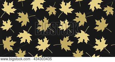 Golden Beige Silhouettes Of Maple Leaves On Black Background. Endless Texture With Falling Autumn Le