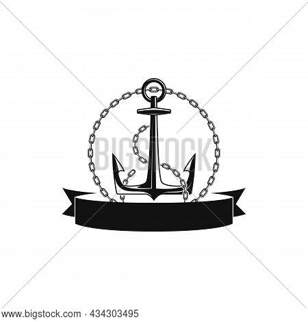 Nautical Anchor With Chain And Ribbon For Your Text. Vintage Label, Emblem Template On Marine Theme.
