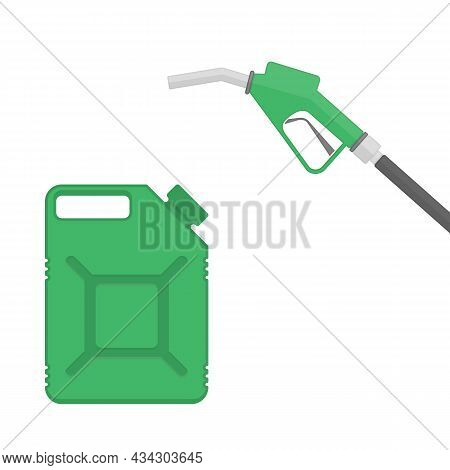 Fuel Pump And Gasoline Canisters Sign In Modern Flat Style. Gas Station Icon Isolated On White Backg