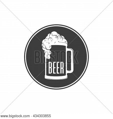Lager Beer Icon. Glass With Beer Or Ale Isolated On White Background. Alcoholic Beverage Festival Co