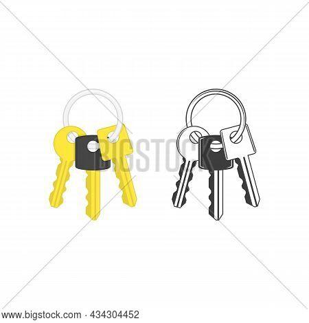 Keys On Key Ring Isolated On White Background. Illustration Of Bunch Of Golden And Silver Keys On Ke