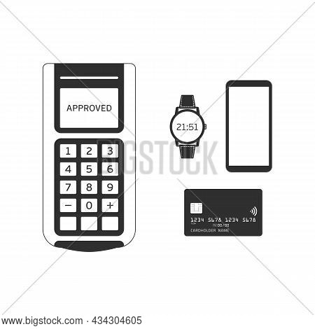 Pos Machine With Credit Card, Smartphone And Smartwatch In Modern Flat Style. Payment Terminal Isola