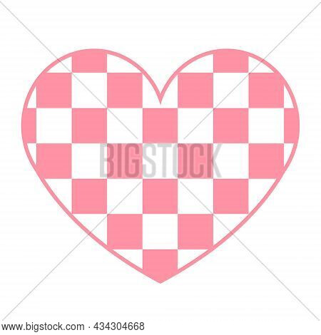 Vector Flat Pink Heart With Chess Checkered Texture Isolated On White Background