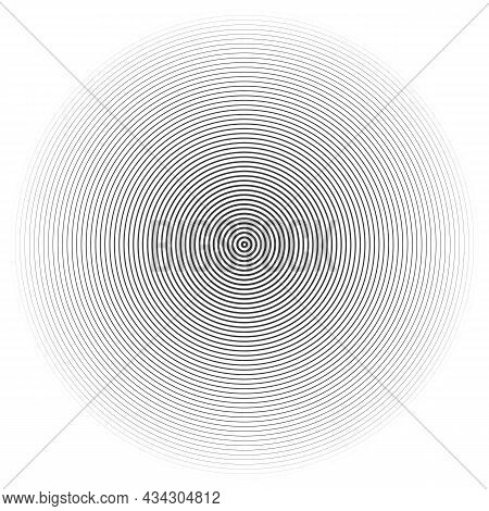 Vector Illustration Of Black Rings Sound Wave. Radar Screen Concentric Circles Elements. Line In A C