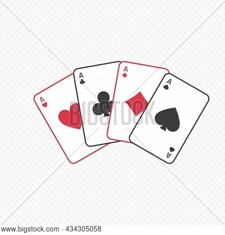 Four Aces Playing Cards Spades Hearts Diamonds Clubs. Poker, Gambling Concept. Vector Icon In Flat S