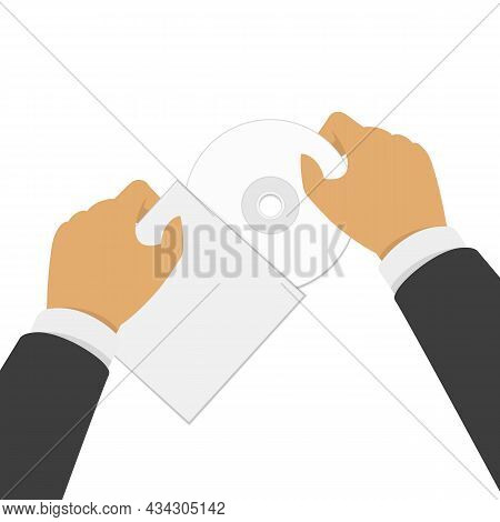 Hand Holding Cd Disk With Packaging. Unpacking Cd Or Dvd Drive. Vector Illustration Eps 10.