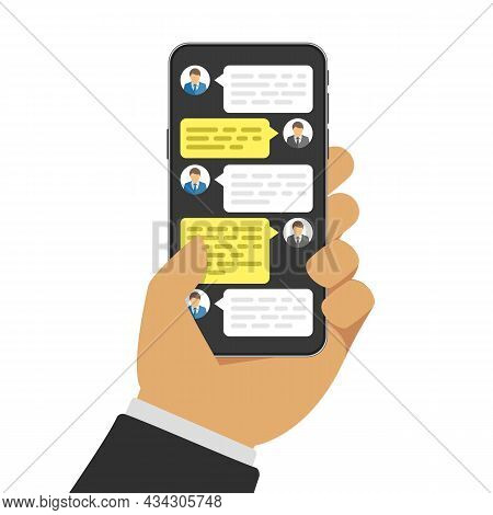 Hand With Smartphone And Chatting Bubble Speeches On Screen. Online Talking, Conversation Or Dialog