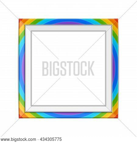 Realistic Rainbow Colors Photo Frame Template Isolated On White Background. Multicolor Blank Picture