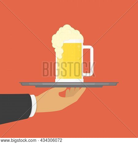 Man Hand With Beers On Serving Tray. Waiter With Glasses Of Beers And Tray On Outstretched Arm. Conc