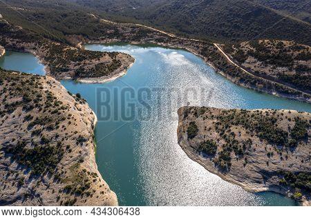 Aerial View Of Embalse De Vadiello Reservoir In Spanish Pyrenees Near Huesca, Spain