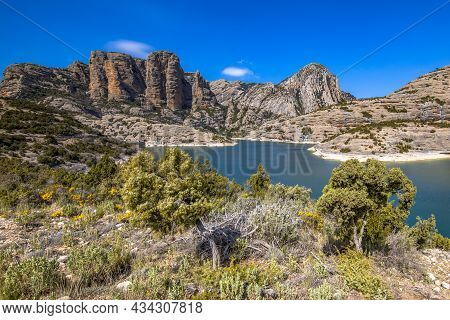 View Of Clifs At Embalse De Vadiello Reservoir In Spanish Pyrenees Near Huesca, Spain