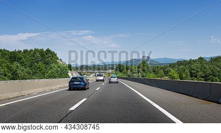 Plitvice, Croatia - July 31, 2021: Cars Are Driving On The Expressway Or Autobahn.