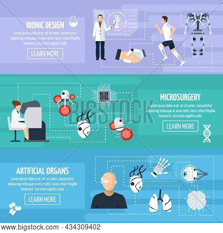 Bionic Technology Horizontal Banners With Different Innovations And Inventions In Biomedical Science