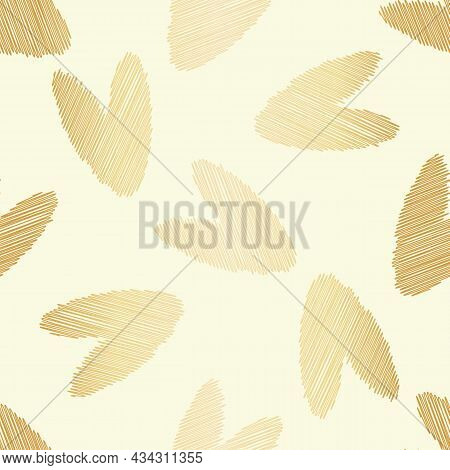 Scribbled Vector Gold Foil Heart Seamless Pattern Background. Backdrop With Delicate Pencil Effect S