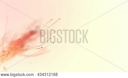 Abstract Aqua Particle Background,  Floating Orange Particles In Background