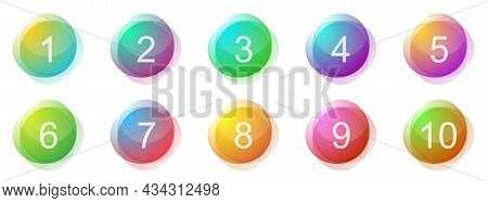 Number Bullet Points 1 To 10. Set Of Creative Colorful Banners. Vector Illustration. Glossy Buttons