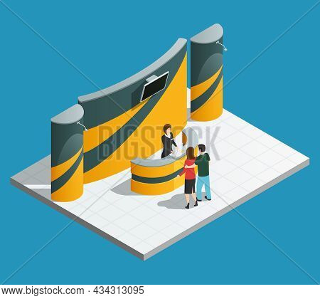 Exhibition Promotion Stand Composition With Isometric Promo Desk Promoter And Visitors Vector Illust