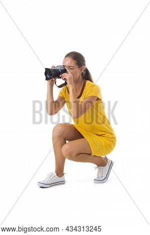 Woman Photographer Takes Snaps, Isolated On White Background