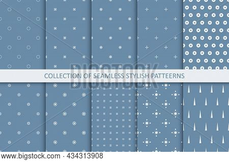 Collection Of Simple Seamless Stylish Patterns. Minimalistic Endless Blue Backgrounds. Elegant Trend