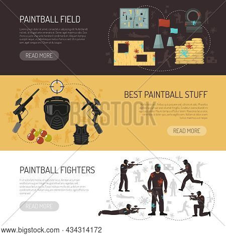 Paintball Horizontal Flat Banners With Players Best Stuff And Field Isolated Vector Illustration