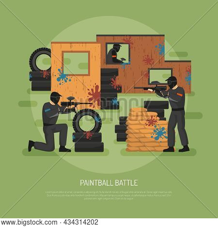 Flat Design Paintball Field Battle And Three Players On Green Background Vector Illustration