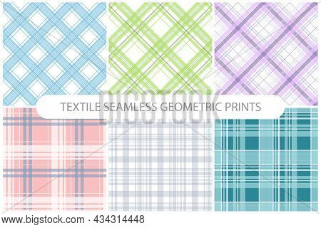 Collection Of Vector Simple Seamless Textile Patterns - Delicate Striped Design. Grid Colorful Fabri