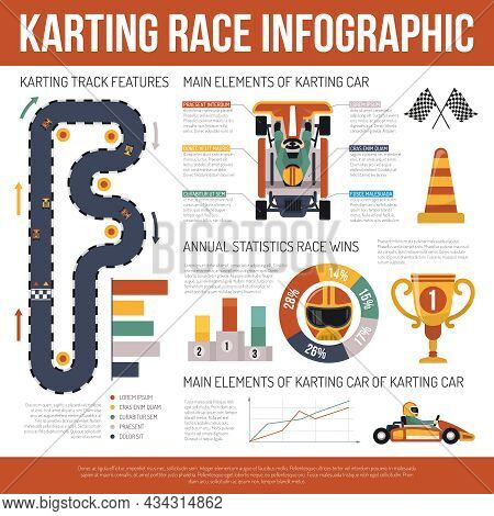 Flat Karting Motor Race Infographics Presenting Information About Track Features And Main Elements O