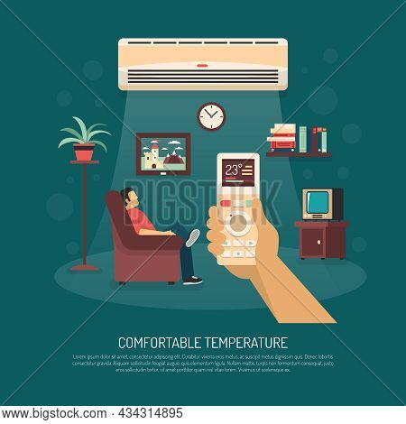 Home Ventilation Conditioning And Heating Equipment Providing Comfortable Temperature Flat Vector Il