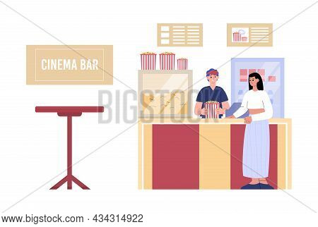 Cinema Bar Or Cafeteria With Vendor And Buyer Flat Vector Illustration Isolated.