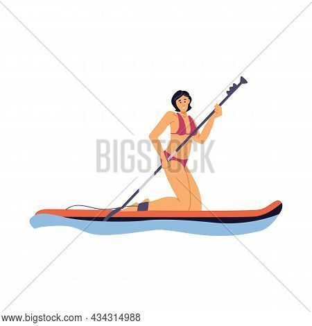 Young Sport Woman In Swimsuit Is Kneeling On Paddle Board A Vector Illustration.