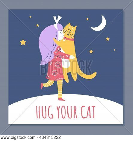 Hug Your Pet The Concept Of Banner Or Card With Child, Flat Vector Illustration.