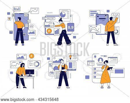 People Develop App. Flat Technology Person, Programming Process. Develop Smartphone Usability Softwa