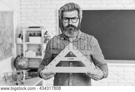 Back To School. Man Teacher Mentoring School Projects. Science Modern School. Math Subject. Study Ma
