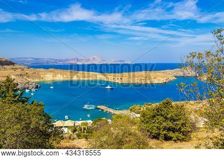 Lindos Beach Bay Panorama With Turquoise Clear Water Rhodes Greece.