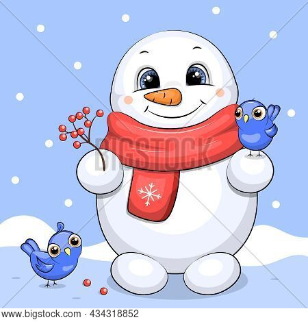 A Cute Cartoon Snowman In A Red Scarf Feeds The Birds With Berries. Winter Vector Illustration.