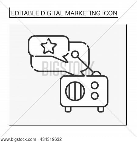 Radio Advertising Line Icon. Effective Advertising For Reaching Large Audiences, Exposing In Brand A