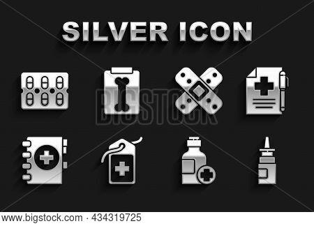 Set Cross Hospital Medical Tag, Medical Prescription And Pen, Bottle Nasal Spray, Of Medicine Syrup,