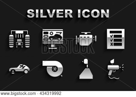Set Automotive Turbocharger, Car Inspection, Paint Spray Gun, Gear Shifter, Broken Car, Check Engine