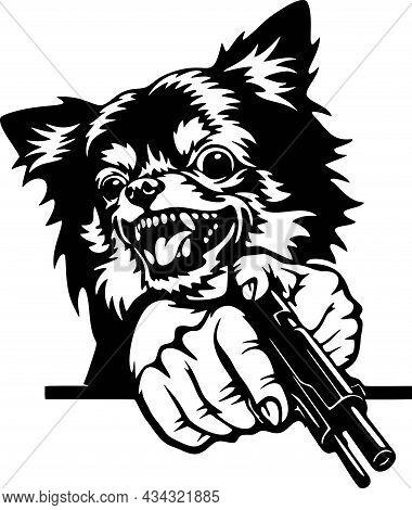Angry Chihuahua - Bad Dog With Gun - Vector Stencil