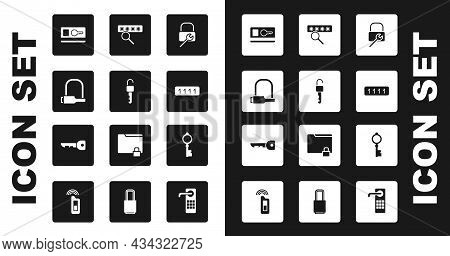 Set Lock Repair, Unlocked Key, Bicycle, Key Card, Password Protection, Old And Icon. Vector