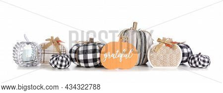 Modern Farmhouse Thanksgiving Decor. Border With Black And White Buffalo Plaid And Rustic Fabric Pum