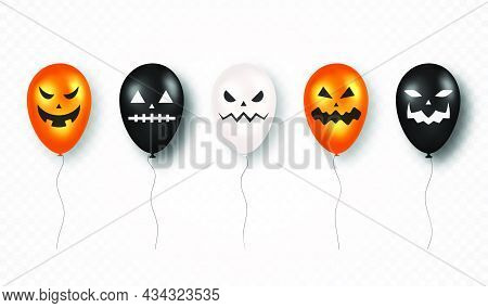 Happy Halloween. Halloween Air Balloons With Scary Pumpkin Ghost Faces. Black, White And Orange Air
