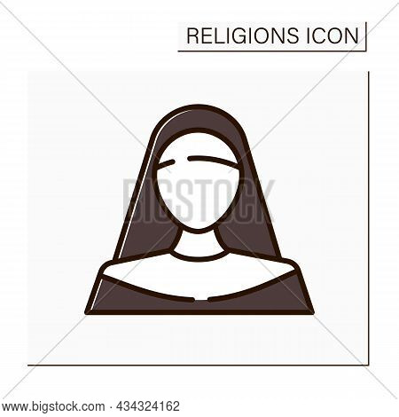 Nun Color Icon. Member Of Religious Community Of Women. Living Under Vows Of Poverty, Chastity, And