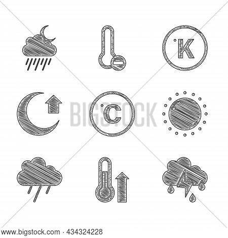 Set Celsius, Meteorology Thermometer, Cloud With Rain And Lightning, Sun, Moon, Kelvin And Moon Icon