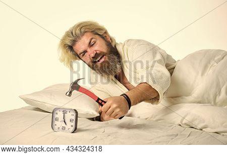 Stress Concept. Time Management. Need To Relax. Annoying Ringing Alarm Clock. Break Discipline Regim